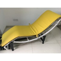 Cushion And Straps For Le Corbusier Lc4 Chaise Lounge Chair In Orange Yellow Pu Leather