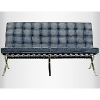 Jean Fabric Barcelona Loveseat Two Seaters Sofa