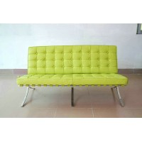 Barcelona style Loveseat Two Seaters Sofa in Top Grain Leather