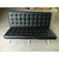 Barcelona style Loveseat Two Seaters Sofa in Italian Leather