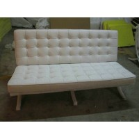 White Barcelona Loveseat Two Seaters Sofa