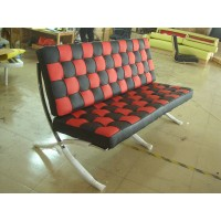 Red and Black Barcelona Checked Loveseat Two Seaters Sofa