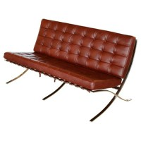 Barcelona style Loveseat Two Seaters Sofa in Full Grain Leather