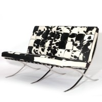 Cowhide Barcelona style Loveseat Two Seaters Sofa with no piping