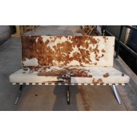Pony Skin Leather Barcelona style Loveseat Two Seaters Sofa with no piping