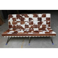 Pony Skin Leather Barcelona style Loveseat Two Seaters Sofa