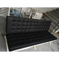 Barcelona style Three Seaters Sofa in Top Grain Leather