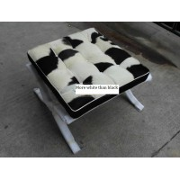 Cowhide Barcelona style Ottoman with no piping