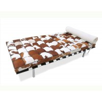 Pony Skin Leather Barcelona style Daybed with no piping