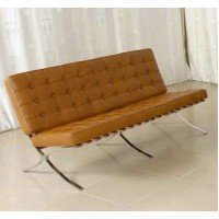 Barcelona Loveseat Cushions And Straps In Full Aniline Leather