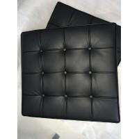 Black Barcelona Ottoman Cushion In Italian Leather