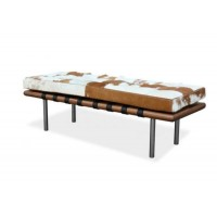 Pony Skin Leather Barcelona Bench Cushion With No Piping