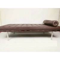 Barcelona Bolster Cylindrical Pillow For Daybed Or Bench Or Chair In Aniline Leather