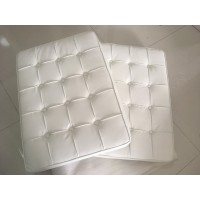 White Barcelona Chair Cushions In Pu Leather