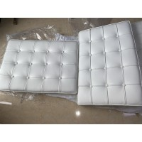 White Nappa Leather Barcelona Chair Cushions and Straps