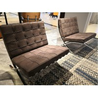 Barcelona Chair Replacement Cushions and Straps in Nubuck Leather