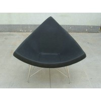 Coconut chair in PU Black leather