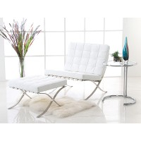 Barcelona Style Chair With Ottoman In PU Leather