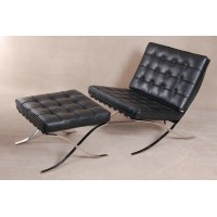 Barcelona Style Chair With Ottoman In Italian Leather
