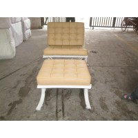 Beige Light Yellow Middle Tan Barcelona Chair With Ottoman