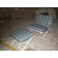Grey Green Barcelona Chair With Ottoman