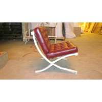 Gloss Maroon Red Barcelona Chair with Ottoman