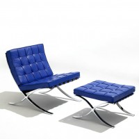 Blue Barcelona Chair With Ottoman