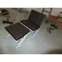 Dark Brown Barcelona Chair With Ottoman