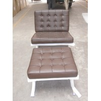 Chocolate Brown Barcelona Chair with Ottoman