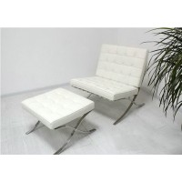 Barcelona Chair With Ottoman In Full Nappa Leather