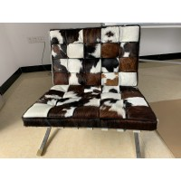 Tri-Color Pony Skin Leather Barcelona Style Chair