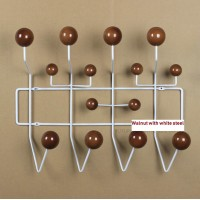 Eames Style Hang It All In Walnut With White Steel