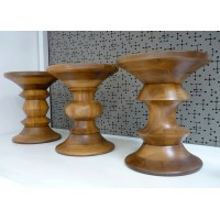 Eames Style Walnut Stool in Light Walnut color