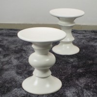 Eames Style Walnut Stool In White Color