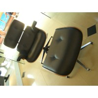 Charles Eames lounge chair and ottoman in aniline leather