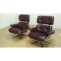 Eames style lounge chair and ottoman in Coffee gradient Leather with Chestnut