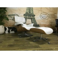 Maple wood Eames style lounge chair and ottoman in white Italian leather