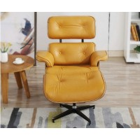 Light Tan Eames Style Lounge Chair And Ottoman In Italian Leather And Chestnut