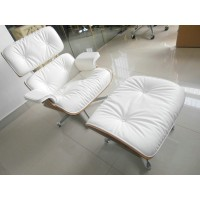 Eames style Lounge Chair and Ottoman in Full Grain Leather