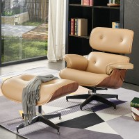 Eames style Lounge Chair and Ottoman in Nappa Leather