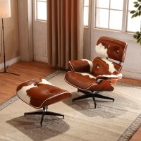 Eames style Lounge Chair and Ottoman in Pony Skin Leather
