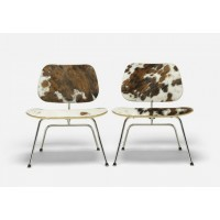Eames Style LCM plywood dining Chair in Cowhide