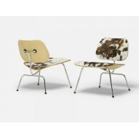 Eames Style LCM plywood dining Chair in Pony Skin Leather