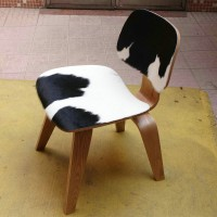 Eames Style DCW plywood dining Chair in Cowhide