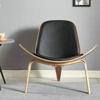 Hans Wegner style Three Legged Shell Chair in Black PU leather