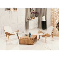 Hans Wegner style Three Legged Shell Chair in White PU leather
