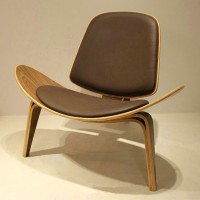 Hans Wegner style Three Legged Shell Chair in Coffee PU leather