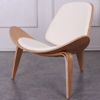 Hans Wegner style Three Legged Shell Chair in Off White PU leather