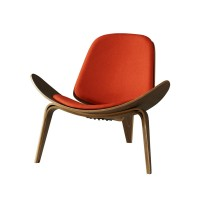 Hans Wegner style Three Legged Shell Chair in Red Fabric