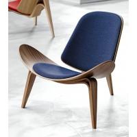 Hans Wegner style Three Legged Shell Chair in Blue Fabric